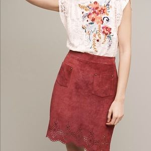Anthropologie Suede Skirt